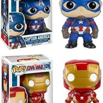 Funko POP Captain America Civil War Iron Man Captain America Stylized Vinyl Bobble Head Set NEW 0